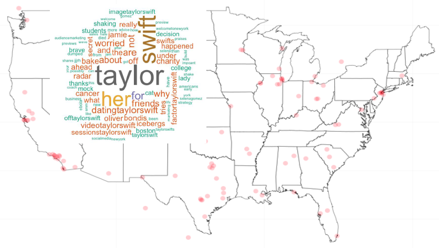 Distribution of geolocated tweets and word cloud referring to Taylor Swift (Source: Alexa Hinves)